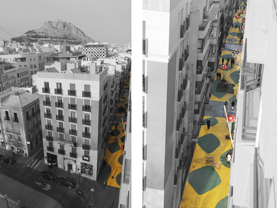 © PLAYstudio. Vista aérea de la Calle San Francisco, Alicante.