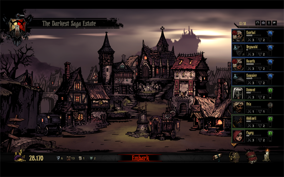 Plaza Mayor de un poblado lovecraftiano en Darkest Dungeon. Red Hook Studios (2016).