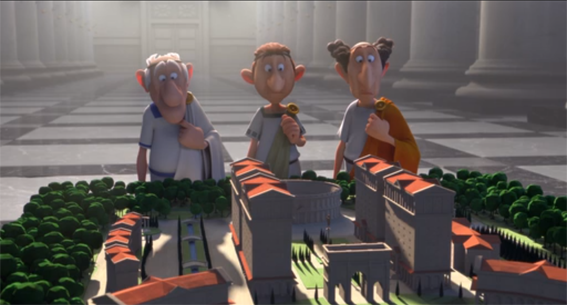 """Maqueta de una Plaza Mayor contemplada por tres perplejos senadores romanos. Fuente: """"La Residencia de Los Dioses"""", película de Louis Clichi (2014) basada en el cómic homónimo de Uderzo y Goscinny (1971)."""