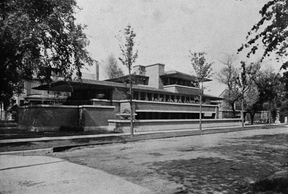 Robie House, F. Ll. Wright, 1911. Fuente: Library of Congress vía Wikimedia Commons